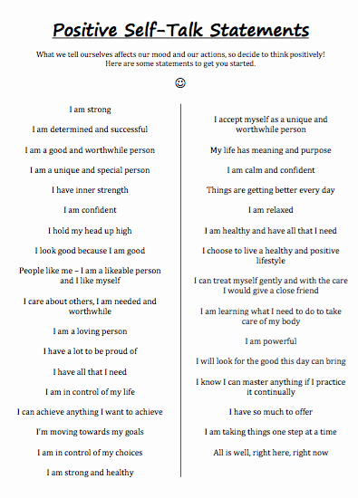 Positive Self Talk Worksheet Lovely Quotes About Positive Self 90 Quotes
