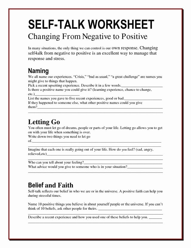 Positive Self Talk Worksheet Luxury 58 Best Positive Self Talk Images On Pinterest