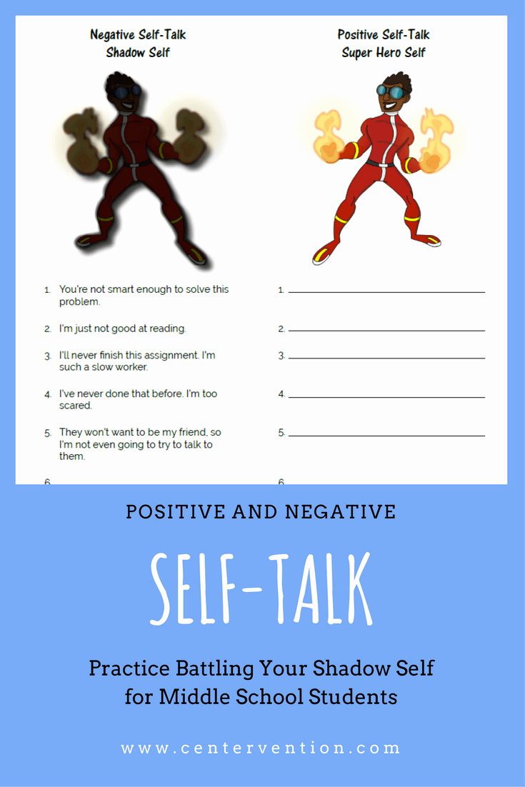 Positive Self Talk Worksheet Luxury Positive and Negative Self Talk
