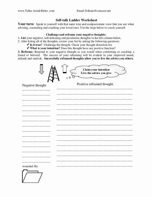 Positive Self Talk Worksheet New Positive Self Talk Worksheet
