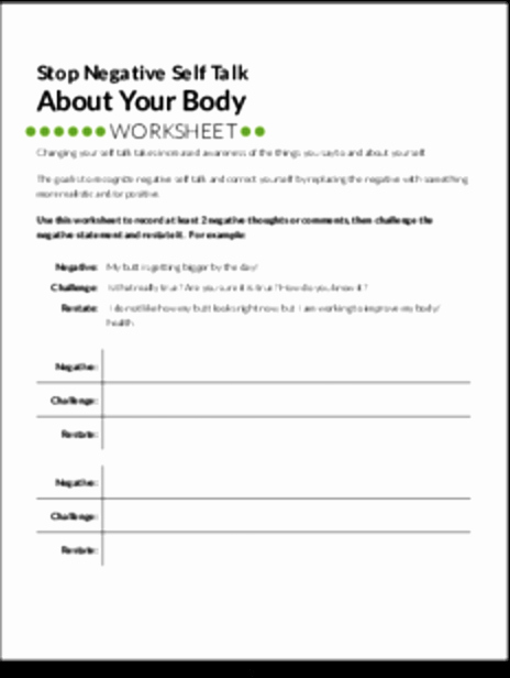 Positive Self Talk Worksheet New White Label Worksheets Stop Negative Self Talk About Your