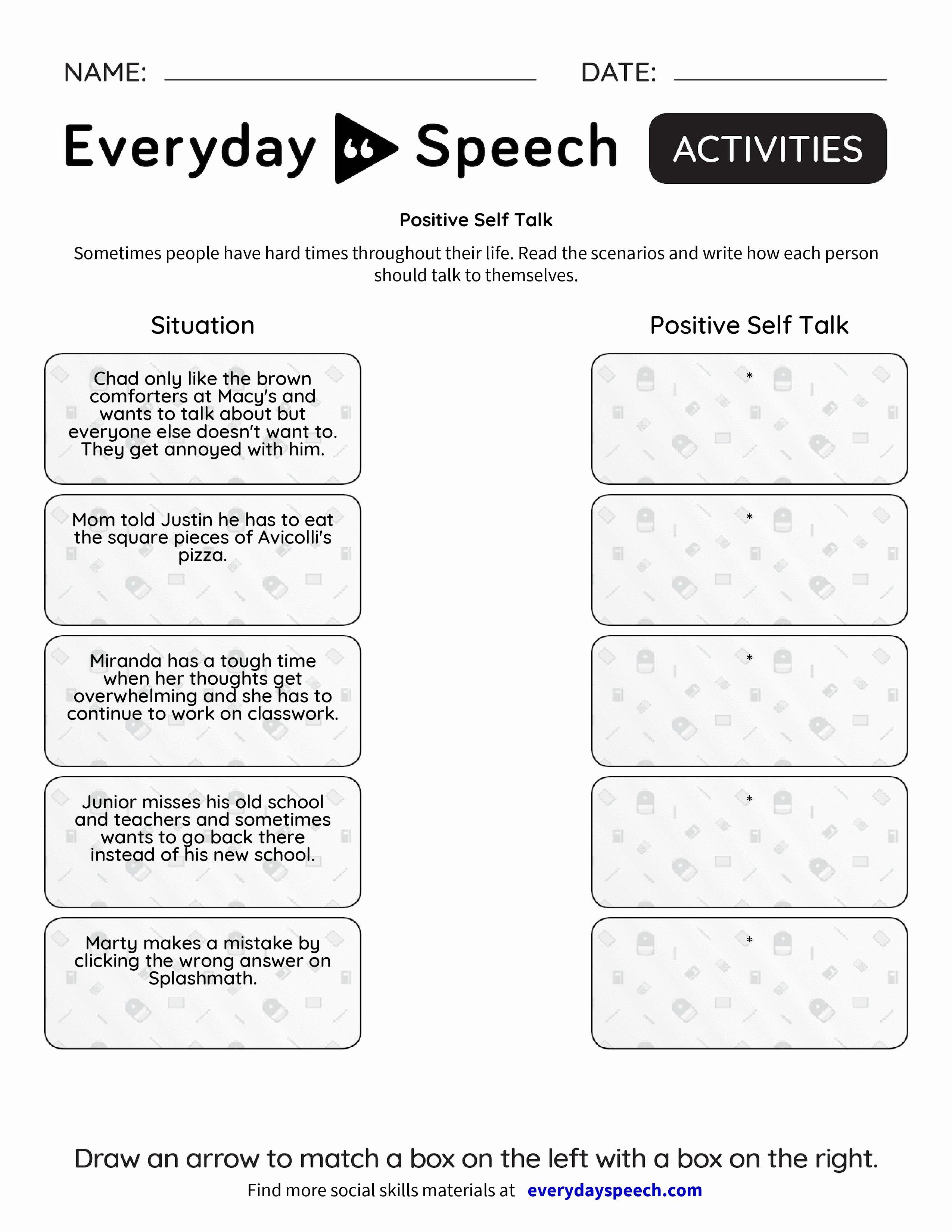 Positive Self Talk Worksheet Unique Positive Self Talk Everyday Speech Everyday Speech