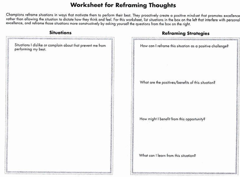 Positive Self Talk Worksheet Unique Positive Self Talk Worksheet