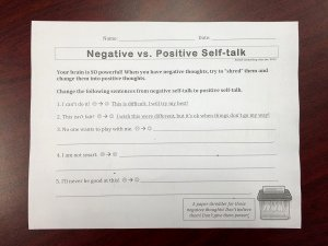 Positive Self Talk Worksheet Unique Positive thoughts In First and Second Grades