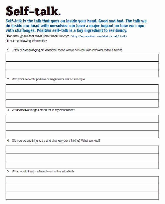 Positive Self Talk Worksheet Unique the Relationship Between Self Talk Anxiety and