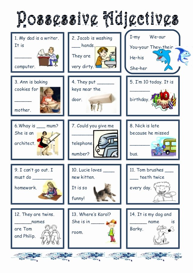 Possessive Adjective Spanish Worksheet Awesome Possessive Adjectives