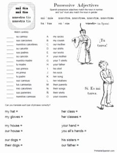 Possessive Adjective Spanish Worksheet Fresh Free Printable Spanish Worksheet Possessive Adjectives