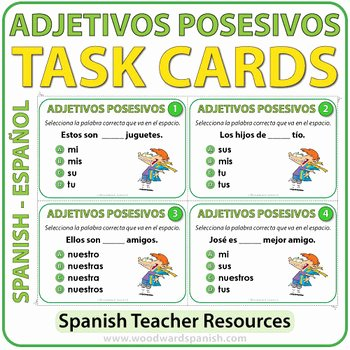 Possessive Adjective Spanish Worksheet Fresh Spanish Possessive Adjectives Task Cards Adjetivos