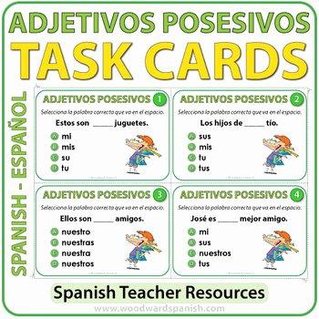 Possessive Adjective Spanish Worksheet Fresh Spanish Possessive Adjectives Task Cards Adjetivos