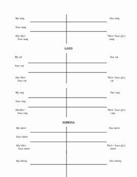Possessive Adjective Spanish Worksheet Lovely Possessive Adjectives Worksheets for Spanish by Christina