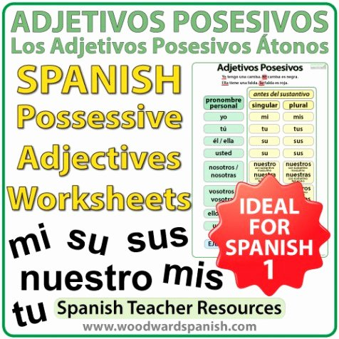 Possessive Adjective Spanish Worksheet Luxury Spanish Possessive Adjectives Worksheets – Adjetivos