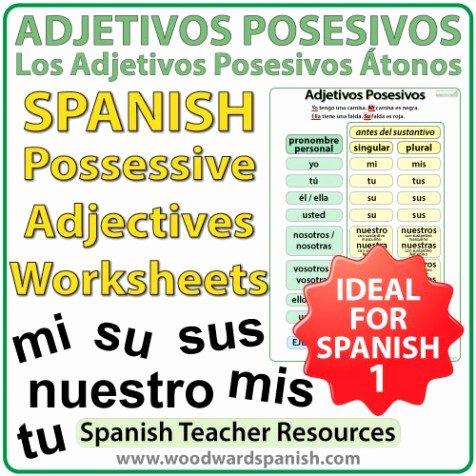 Possessive Adjective Spanish Worksheet Luxury Spanish Possessive Adjectives Worksheets – Adjetivos