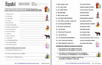 Possessive Adjective Spanish Worksheet Unique Spanish Possessive Adjectives with Family and Descriptive