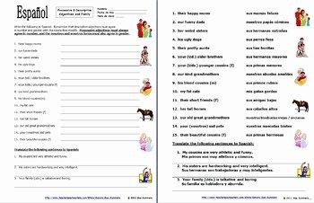 Possessive Adjective Spanish Worksheet Unique Spanish Possessive Adjectives with Family and Descriptive