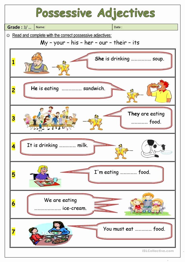 Possessive Adjectives Spanish Worksheet Elegant Possessive Adjectives Worksheet Free Esl Printable