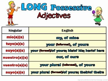 Possessive Adjectives Spanish Worksheet Elegant Spanish Long Possessive Adjectives and Pronouns Bundle by