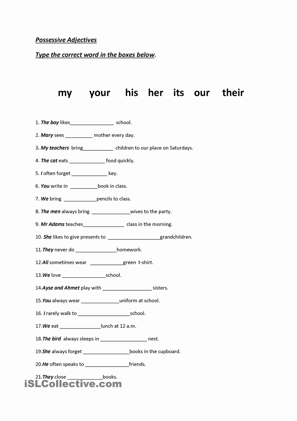 Possessive Adjectives Spanish Worksheet Fresh 13 Best Of Worksheets Subject Verb In Spanish