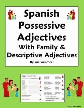 Possessive Adjectives Spanish Worksheet Inspirational Spanish Possessive Adjectives with Family and Descriptive