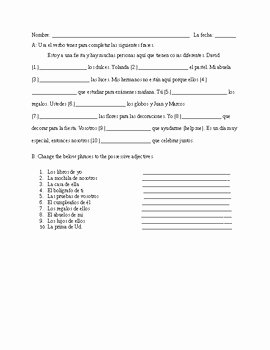 Possessive Adjectives Spanish Worksheet Lovely Tener Possessive Adjective Spanish Quiz Realidades 1 Ch