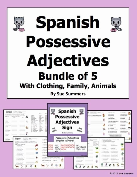 Possessive Adjectives Spanish Worksheet Unique Long form Possessive Adjectives Spanish Worksheet 1000