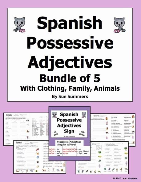 Possessive Adjectives Spanish Worksheet Unique Long form Possessive Adjectives Spanish Worksheet 1000