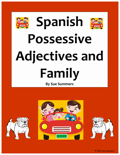 Possessive Adjectives Spanish Worksheet Unique Spanish Possessive Adjectives and Family Worksheet by