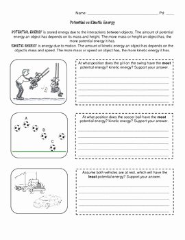 Potential and Kinetic Energy Worksheet Luxury Potential Kinetic Energy Educate