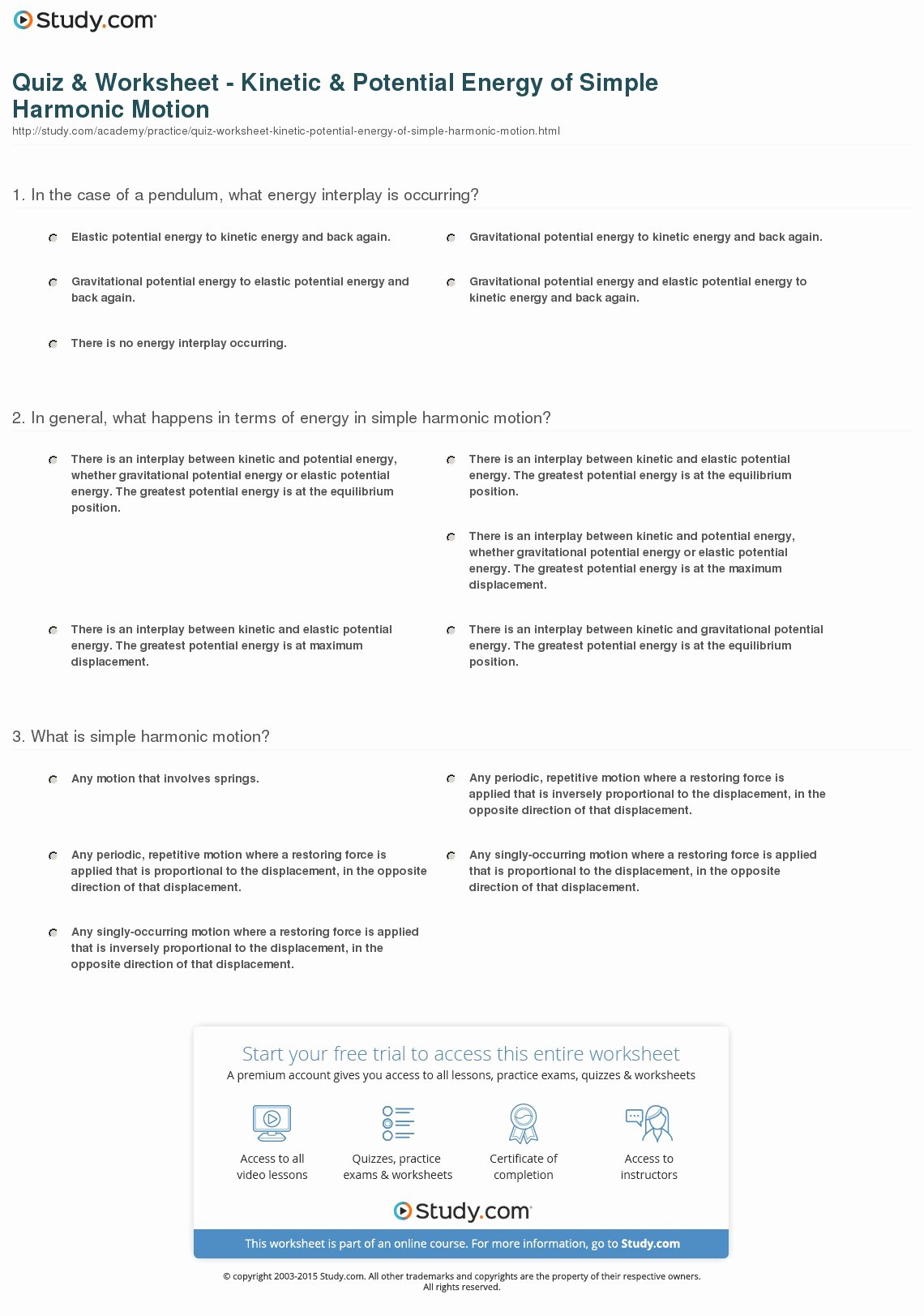 Potential and Kinetic Energy Worksheet Luxury Quiz & Worksheet Kinetic & Potential Energy Of Simple