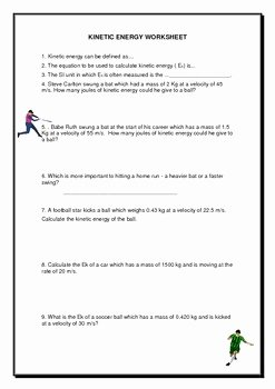 Potential and Kinetic Energy Worksheet Unique Kinetic & Potential Energy Worksheet by Jag Education