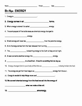 Potential and Kinetic Energy Worksheet Unique Potential and Kinetic Energy Worksheet Answers Science