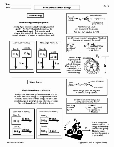 Potential and Kinetic Energy Worksheet Unique Potential and Kinetic Energy Worksheet for 9th 12th