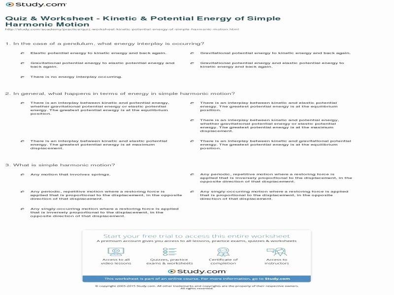 Potential Versus Kinetic Energy Worksheet Inspirational Potential Vs Kinetic Energy Worksheet Free Printable