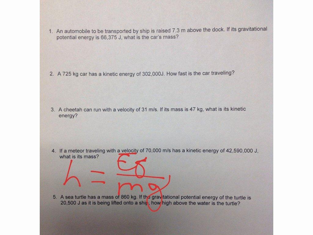 Potential Versus Kinetic Energy Worksheet Lovely Gravitational Potential & Kinetic Energy Worksheet