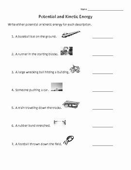 Potential Versus Kinetic Energy Worksheet Lovely Potential and Kinetic Energy Review by Annette Hoover