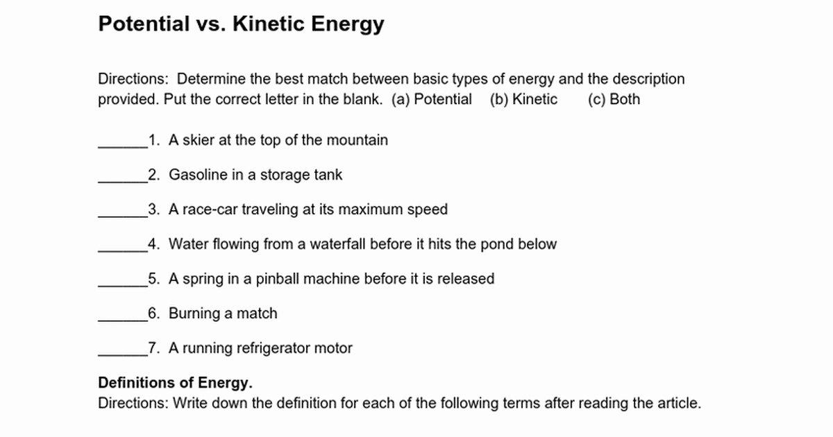 Potential Versus Kinetic Energy Worksheet Luxury Kinetic and Potential Energy Worksheet