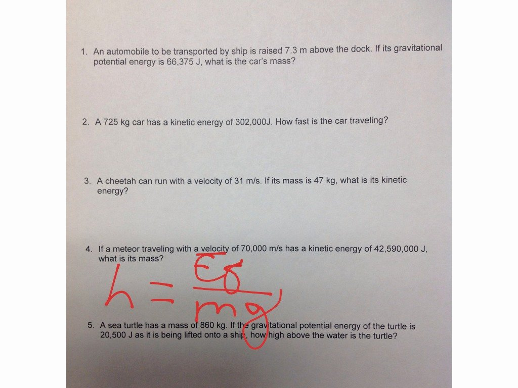 Potential Vs Kinetic Energy Worksheet Best Of Gravitational Potential & Kinetic Energy Worksheet