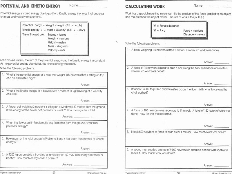 Potential Vs Kinetic Energy Worksheet Luxury Potential Vs Kinetic Energy Worksheet Free Printable