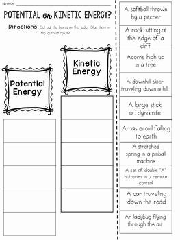 Potential Vs Kinetic Energy Worksheet New Potential and Kinetic Energy Cut and Paste sorting