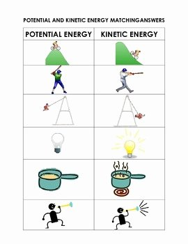 Potential Vs Kinetic Energy Worksheet New Potential and Kinetic Energy Matching Cut and Paste sort