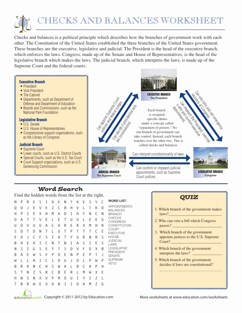 Powers Of Congress Worksheet Beautiful Checks and Balances Worksheet