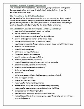 Powers Of Congress Worksheet Beautiful U S Constitution Analysis Preamble and Enumerated Powers