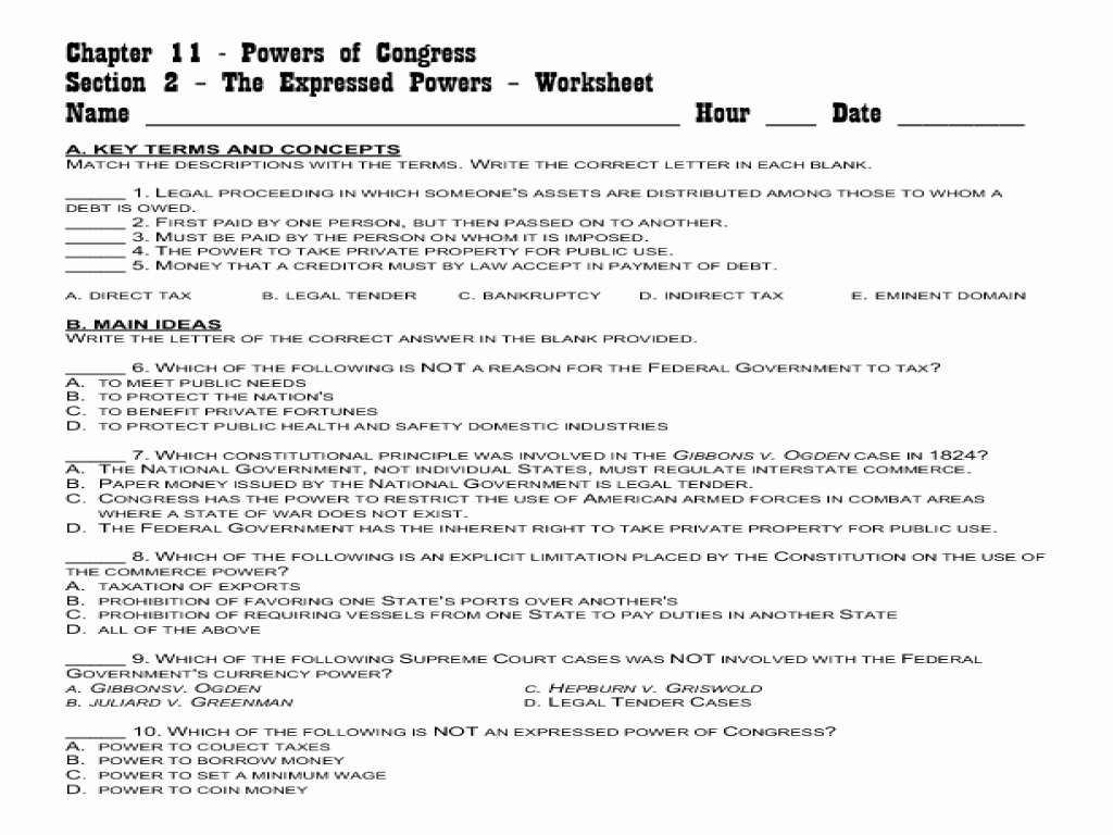 Powers Of Congress Worksheet Elegant Worksheet Landmark Supreme Court Cases Worksheet Grass