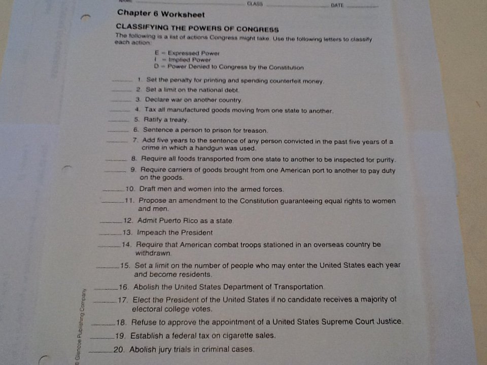 Powers Of Congress Worksheet Lovely Chapter Notes & Documents Mr Gibson S social Stu S
