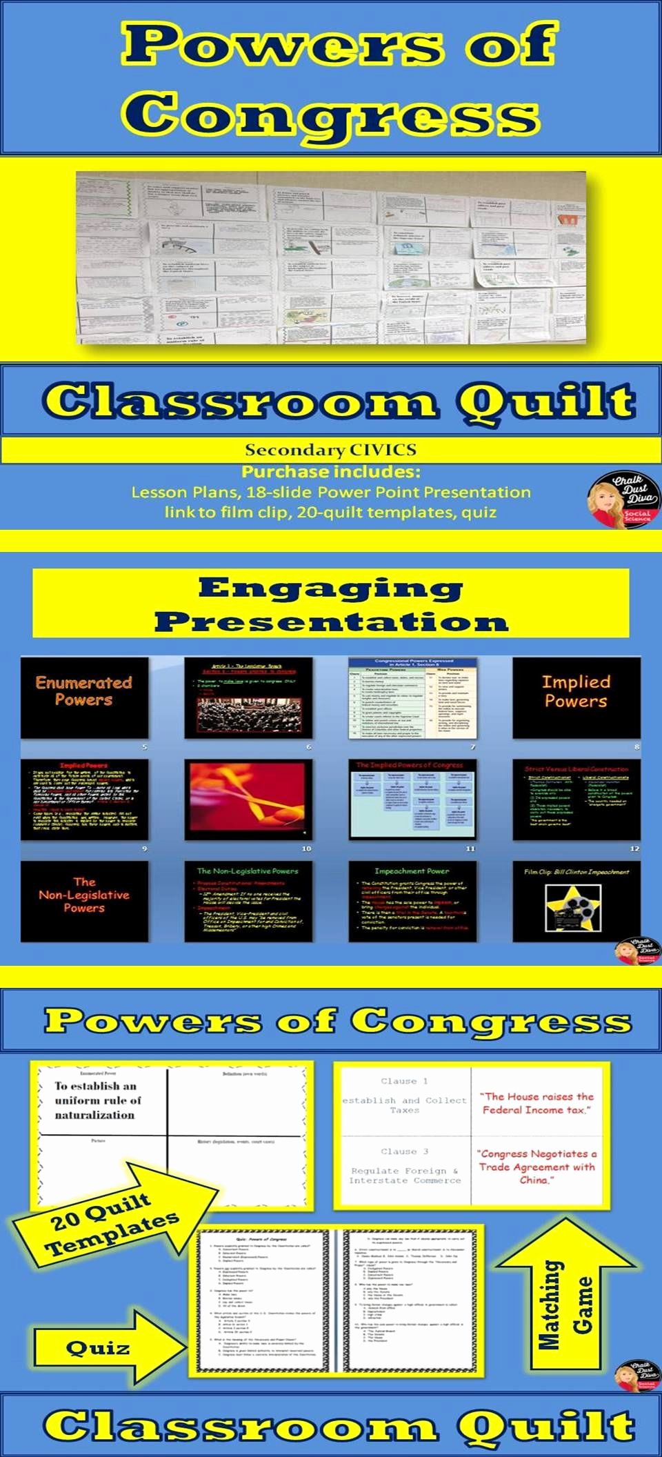 Powers Of Congress Worksheet Lovely Powers Of Congress Classroom Quilt Activity Legislative