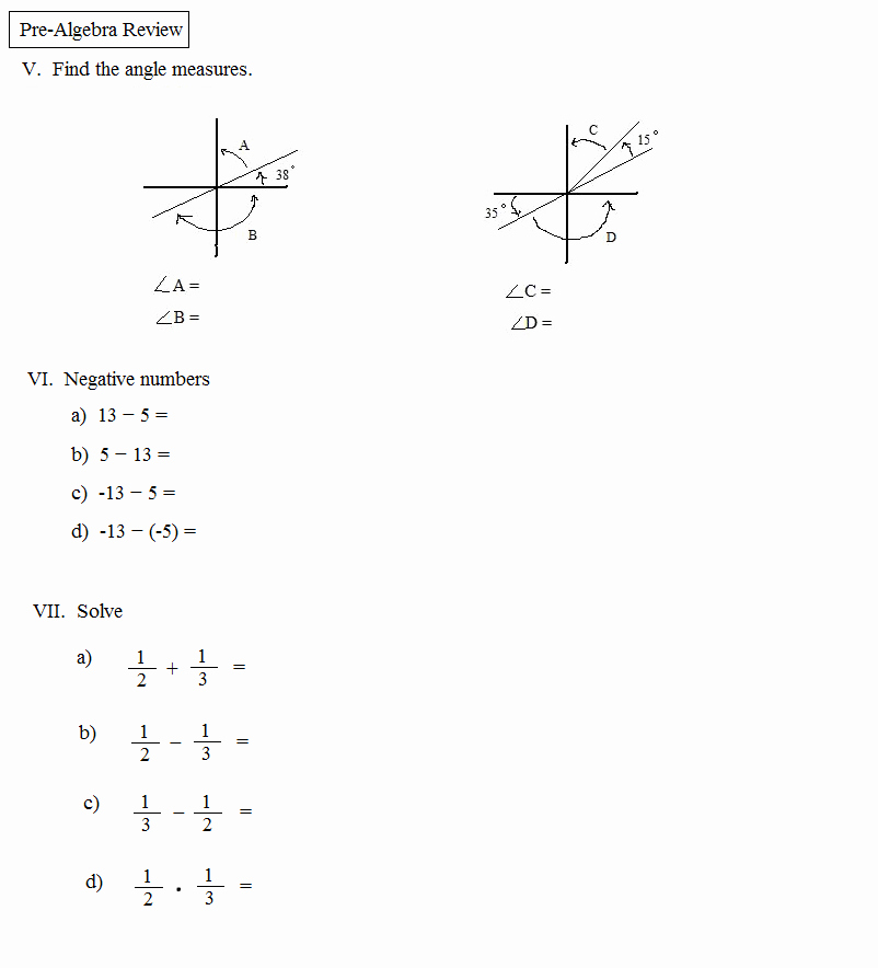 Pre Algebra Review Worksheet Best Of Math Plane Pre Algebra Review 1