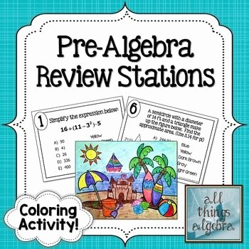 Pre Algebra Review Worksheet Elegant Pre Algebra Review Stations Coloring Activity