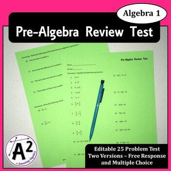 Pre Algebra Review Worksheet Inspirational Unit 1 Pre Algebra Review Test by Amazing Algebra