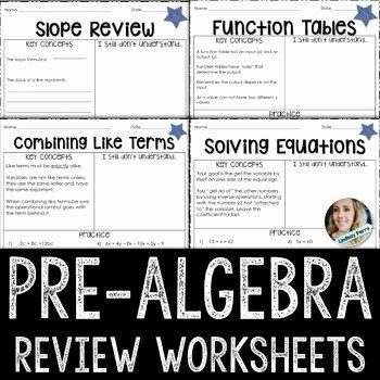 Pre Algebra Review Worksheet New Pre Algebra Review Worksheets by Lindsay Perro