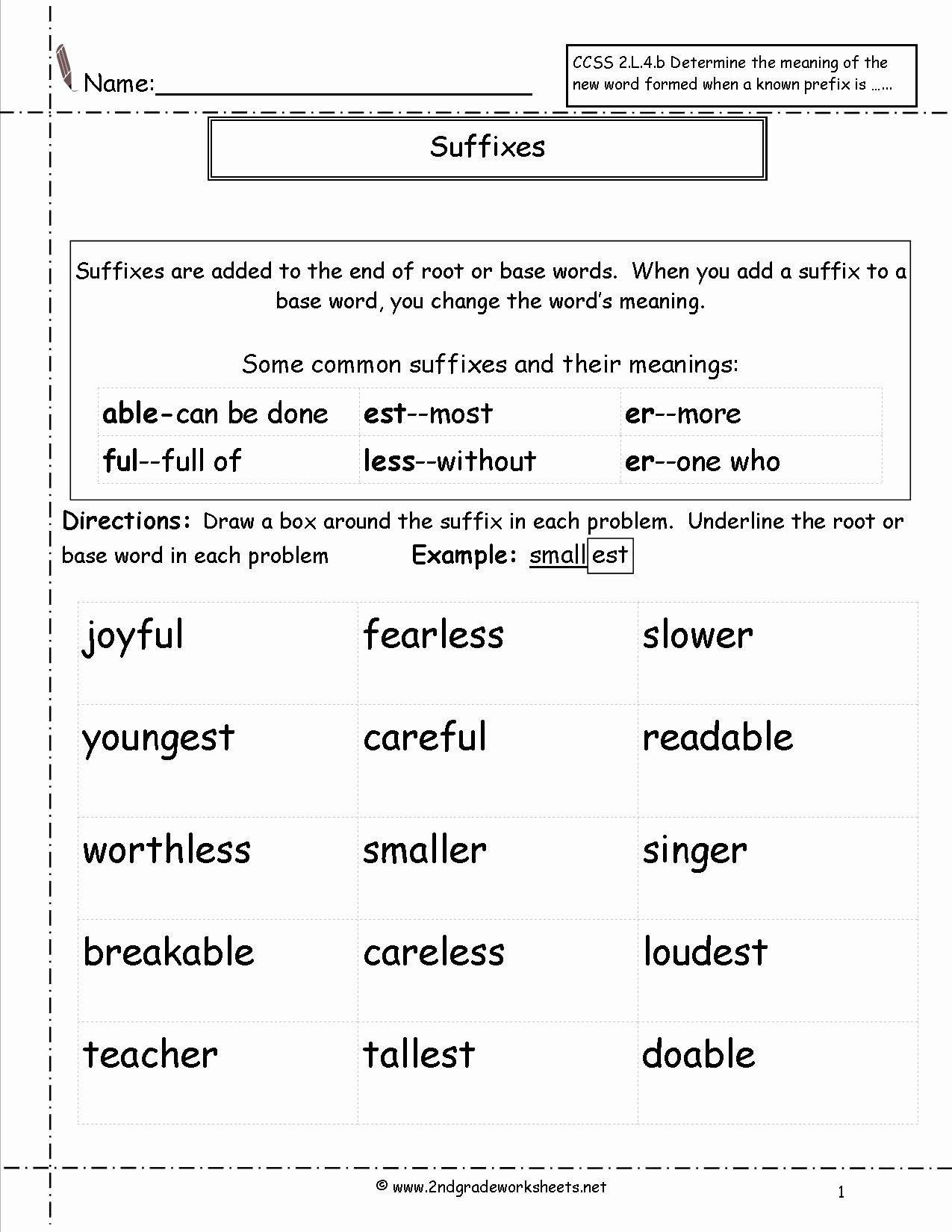Prefixes and Suffixes Worksheet Beautiful Second Grade Prefixes Worksheets