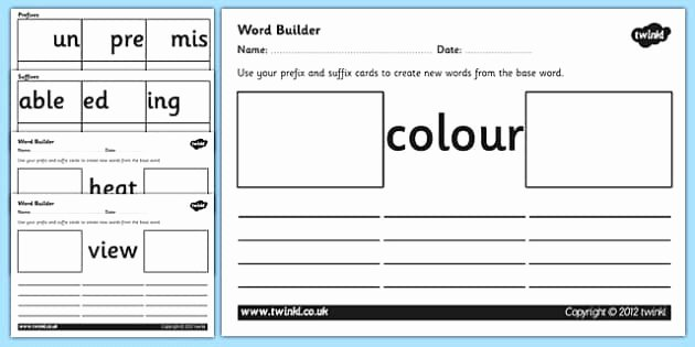 Prefixes and Suffixes Worksheet Elegant Prefix and Suffix Word Builder Cards and Worksheets
